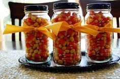 food gifts for halloween: candy corn {jar} | make handmade, crochet, craft