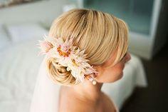 Pin a few into your bun bride protea, blushing bride, bride hair, real flower