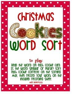 In this free English/Language Arts center, students will determine if the noun written on each cookie card is singular or plural. Students will sort the cards using the included sorting mat, and will record their work on the recording sheet. This is a Christmas-themed center with adorable graphics that your students are sure to enjoy!