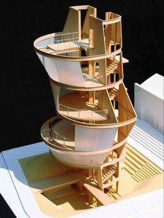 models, architects, inspiration, floors, california, los angeles, eric owen moss, art tower, architectur model