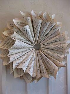 sheet music wreath tutorial