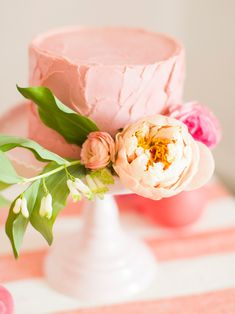 soft iced cake with pretty florals