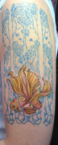 tattoo idea, tattoo art nouveau, colors, background, tattoo goldfish