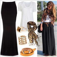 lovely simple look…black maxi skirt