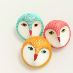 Owl head brooch yellow by HandyMaiden on Etsy, $28.00