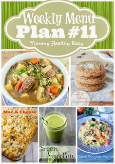 Weekly Menu Plan #11 from yummyhealthyeasy.com - dinner, side dish and dessert ideas to help plan out meals for the week