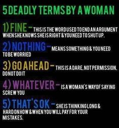 5 Deadly Terms by a Woman...Haha...Pretty accurate.