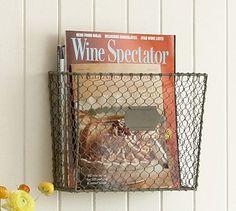 Wire Mesh Wall-Mount Magazine Rack #potterybarn