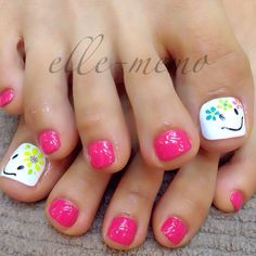 Pink - White - Lime green - Turquoise - Yellow - Happy face - Flowers - Toe nail design