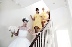 60s inspired wedding dress and bridesmaids!