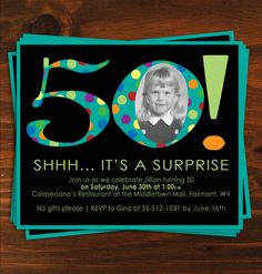Black and Blue Poka Dot Surprise 50th Birthday Party Invitaion. $18.00, via Etsy.