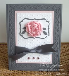 SU Tulip E F, Decorative Label and Bird punch, ribbon rose