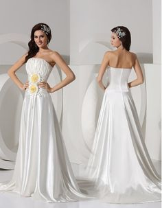 Affordable Sexy A-Line Strapless Court Train Satin Wedding Dresses