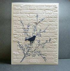 stamp, brick emboss, brick wall, bird cards, background