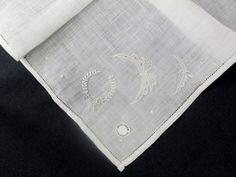 linen embroid, antiqu irish, irish linen, embroid handkerchief