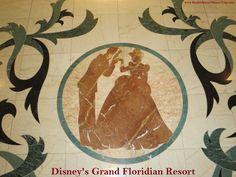 Cinderella & Prince Charming  - marble floor inlay in Disney's Grand Floridian Resort lobby. #Cinderella #GrandFloridian #Disneyworld #WDW
