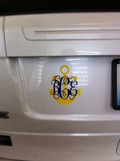 Anchor/Monogram Car Decal-Two color. $8.00, via Etsy. -cute for DG's