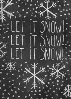 Chalkboard Christmas Card  Let It Snow  Chalk Art  by LilyandVal,