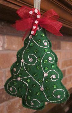 Handmade Felt  Christmas Tree Ornament. $8.00, via Etsy.