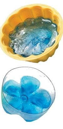 Make ice in the bottom of plastic bottles, looks like a flower...float in a bowl of punch...how easy is that!