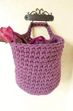 Crochet Hanging Basket Upcycled Tshirt Yarn. €17.00, via Etsy.