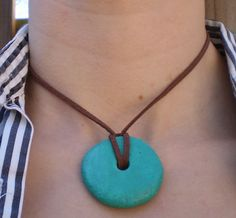Teal Donut Salt Dough Pendant Necklace on Brown Suede Cord