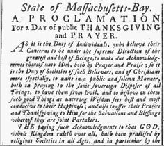 "A ""Thanksgiving proclamation"" was published in the New-England Chronicle just months after the Declaration of Independence was issued and while the country was at war with England. Learn more about how you can find other great Thanksgiving stories in GenealogyBank's online newspapers: http://blog.genealogybank.com/you-want-to-be-prepared-as-thanksgiving-approaches.html"