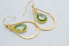 Gold Hammered Hoops with Green Amethyst, Gold Hoop Earrings, Gold Chandelier Earrings, Green Dangle Earrings on Etsy, $78.55