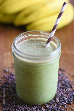 Superfood PB Banana and Cacao Green Smoothie   Skinnytaste pb banana