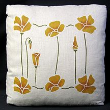 "Stencilled Poppy Pillow  	    Price: $60.00    17""x17"" Belgian Linen, the flowers are hand stencilled in copper and gold, the stems in olive."