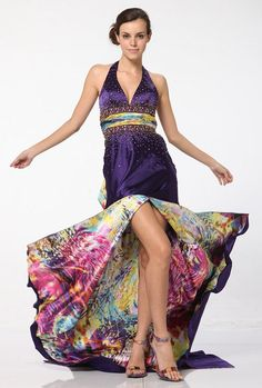 Purple Print Dress Long Print Train Halter Neck Beaded Open Split $124.99