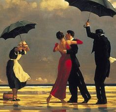 """The Singing Butler, by Jack Vettriano, Scottish painter.  One of the most famous paintings by Fife artist Jack Vettriano has gone on public display for the first time in two decades.   The Singing Butler can be viewed at Aberdeen Art Gallery.  It is part of an exhibition entitled """"From Van Gogh to Vettriano - Hidden Gems from Private Collections""""."""