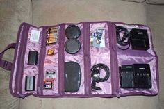 Use the thirty one uptown jewelry bag to organize and hold all your camera accessories.