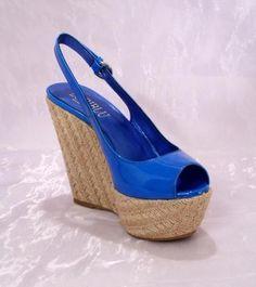 Blue Patent Leather Platform Wedge Sandals