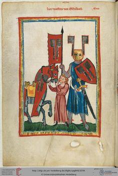 """Wolfram von Eschenbach wurde wohl um 1170 in Franken geboren, nannte sich selbst jedoch einen Bayern. Unter anderem weilte er am Hof des kunstliebenden Landgrafen Hermann V. von Thüringen, wo er vermutlich Walther von der Vogelweide (Miniatur 45) getroffen haben dürfte. Zwischen 1200 und 1210 schrieb er dann den Versroman """"Parzival""""."""
