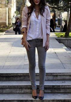 Blush blazer + white button down + gray skinnies