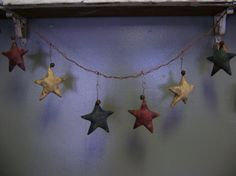 Primitive Americana Summer Star Garland  WOW by needlinaround, $21.00