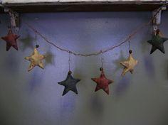 Primitive Americana Summer Star Garland  WOW by needlinaround, $21.00
