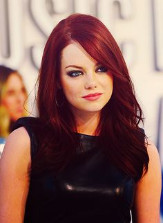 emma stone hair colors, girl crushes, winter colors, red hair, emma stone, shades of red, side bangs, pink lips, eyes