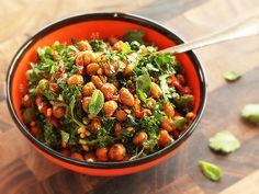 Roasted Chickpea and Kale Salad With Sun-Dried Tomato Vinaigrette #vegan #recipe
