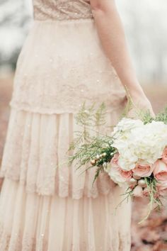 BHLDN Rosecliff gown, blush and gold wedding inspiration