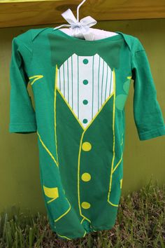 Newborn Baby Green Irish Tuxedo Sleeper Gown. $20.00, via Etsy. https://www.facebook.com/LittleSewingShop?ref=hl