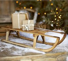 PB Found Wood Sled #potterybarn    can do so much with these also brings back memories :)
