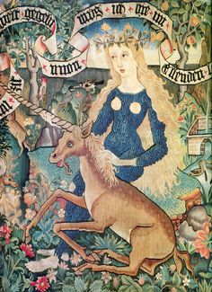 A Unicorn and a Wild-woman, tapestry chair covering, 1400s