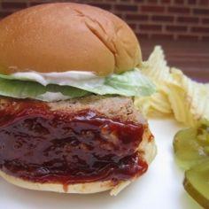 BBQ Meatloaf Sliders - Meatloaf gets slathered with homemade BBQ sauce ...
