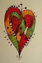 draw, art journal, zentangl heart, autumn, color heart