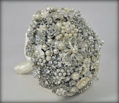 READY TO SHIP rhinestone and pearl Brooch bouquet by BluePetyl