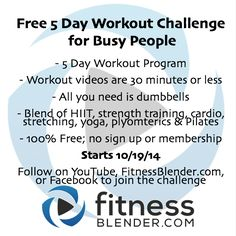 2 Days until the first workout of the Free 5 Day Challenge for Busy People goes live! Make sure you're subscribed on YouTube (https://www.youtube.com/user/FitnessBlender) to join the workout challenge. Challenge a friend and leave us a comment if you're working out with us next week!