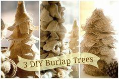 Super Easy burlap trees. Perfect for the holidays! easi diy, burlap christmas, burlap tree, diy tutorial, christma idea, blog, christmas trees, diy burlap, the holiday