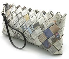 Clever and stylish newspaper clutch bag.